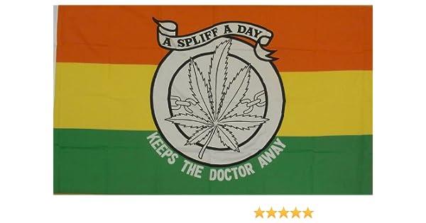 Cannabis Leaf Marijuana A Spliff A Day Keeps The Doctor Away 5/'x3/' Flag
