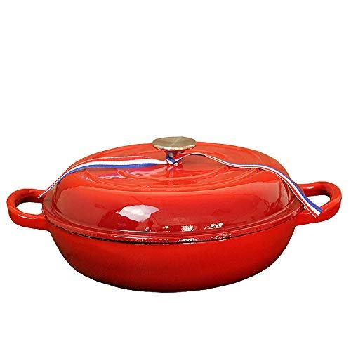 Horno holandés esmaltado de hierro fundido pretratado rojo, 5 litros