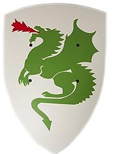 VAH - Robusto, escudo curvo caballero con adorno del dragón de madera de álamo - grande Modelo: 36 / 50cm - Color: Blanco pinturas seguras | 2 correa remachada hecha de piel sintética | Made in Germany