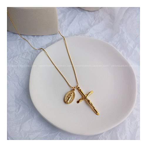 ZUXIANWANG 18 K'S Golden Lady Halskette Jesus Kreuz Hängend Notre Dame Halskette Liebhaber Student Halskette Jesus Christentum Hängenden Schmuck