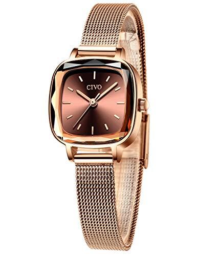 CIVO Relojes Mujer Relojes de Señoras Acero Inoxidable Minimalista Impermeable Oro Rosa Diseñador Simple Moda Relojes de Cuarzo Analógicos para Mujeres con Esfera Marrón Elegante Casual