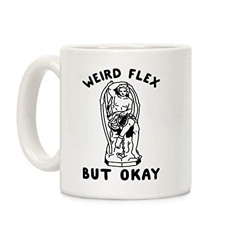 LookHUMAN Weird Flex but Okay Lucifer Kaffeebecher, Keramik, 313 ml, Weiß (Witze Nerdy Halloween)