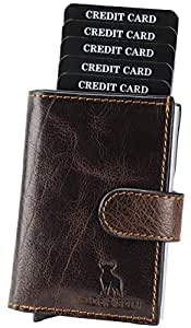 HIDE & SKIN Unisex Leather RFID Blocking Card Holder Cum Minimalistic Wallet (Antique Brown)