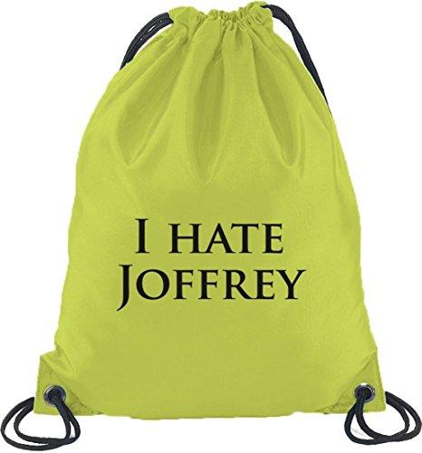 Shirtstreet24, I HATE JOFFREY, Turnbeutel Rucksack Sport Beutel Limone