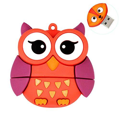 H&T Niedliches Tier Karikatur-Glaseulen-Form USB-Flash-Laufwerk, Memory Stick Lustig Mit Integrierten Cap Memory Stick-Daumen-Antrieb Für Kind-Foto-Bild,64gb