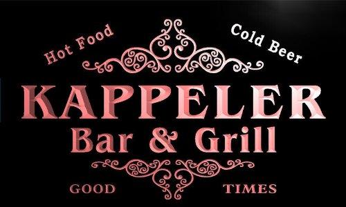u22598-r KAPPELER Family Name Bar & Grill Home Beer Food Neon Sign Barlicht Neonlicht Lichtwerbung