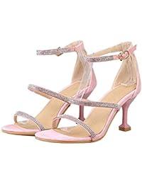 559a01eccb MEMIND Ms Sandalias Zapatos de tacón Alto Rhinestone Suede Mujer Tacones  Altos Correa Delantera de Gran tamaño.