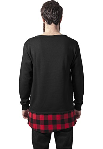 URBAN CLASSICS - Long Flanell Bottom Open Edge Crewneck (black/black/red) Black/Black/Red