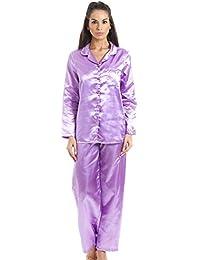 Pyjama long en satin - Violet