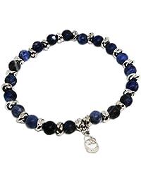 Cloto summer vibes Blue Monday bracciale con pietre Sodalite blu 6 mm e charm in argento 925 My Silver