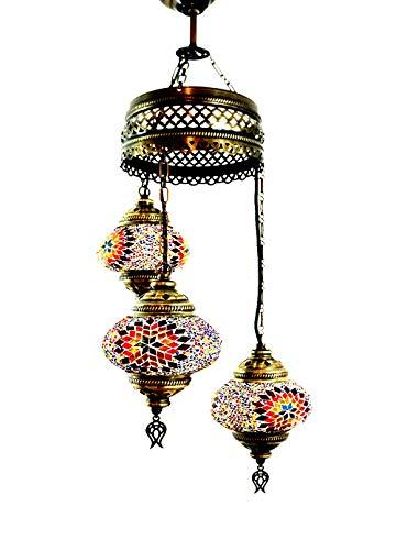 Handgefertigte Orientalisch Türkisch Mosaik Glas Hänge Lampe Innenleuchte Pendelleuchte Deckenleuchte Aussenleuchte Handarbeit Hängeleuchte Hängelampe 3 Lichter Glasgröße 2 (Bunt-Stern) (Asiatische Orientalische Lampe)