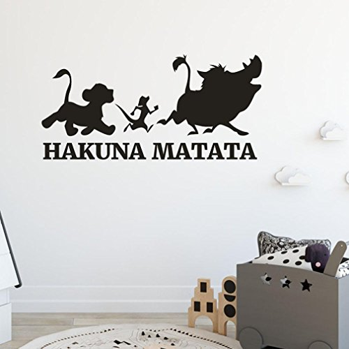 EARS Aufkleber Wand Hakuna Matata Abnehmbare Art Vinyl Wandbild Home Room Decor Wandaufkleber Moderne Home Office Art Decor Wallpaper Wall Paper Living Room Sofa Bedroom (Schwarz)
