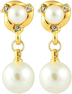 Ohrclips Chic Creme Elfenbein Perlen Kristallrhinestone baumeln Gold Ohrringe
