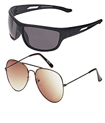 Vast Combo of Fashion Avaitor And Sports, Biking Unisex Sunglasses (COMBO3025BROWN_BK)