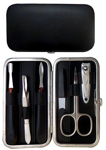 Tenartis 320 Set Manucure 6 pièces en Cuir Noir Nappa - Fabriqué en Italie