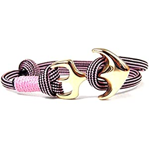 HanseCharms-Maritimes Surfer Armband- Paracord-Anker Armband-Edelstahl Anker Armband-Unisex-Verstellbar-Rose Pink-Black Stripes