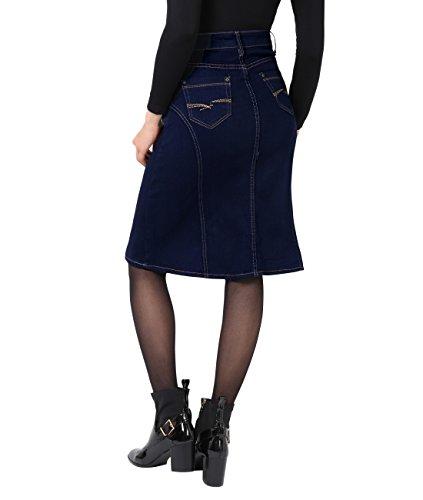 KRISP® Damen Midi Jeansrock Knielang Denim Bleistiftrock Marineblau (2117)