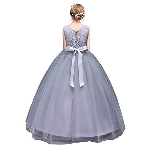 HUANQIUE Mädchen Kleider Prinzessin Hochzeit Abendkleid Kinder mit Schleife Spitzen Gray (Für Kind Kleid Prinzessin)