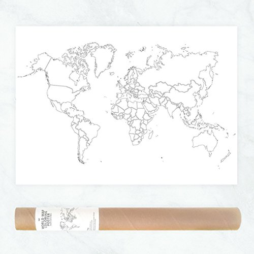 Politische Weltkarte zum Ausmalen als Reisekarte oder als Minimalistisches Wanderlust Plakat