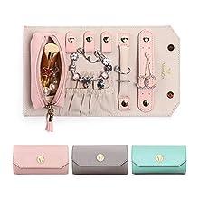 Vee porta gioielli donna portagioie da viaggio piccolo rotolo portagioielli organizzatore gioielli porta espositore annelli collane orecchini regalo di Natale - rosa