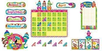 4 Inches Sock Monkeys Calendar Bulletin Board Set, 102 Pieces (TEPT8416) by Trend ()