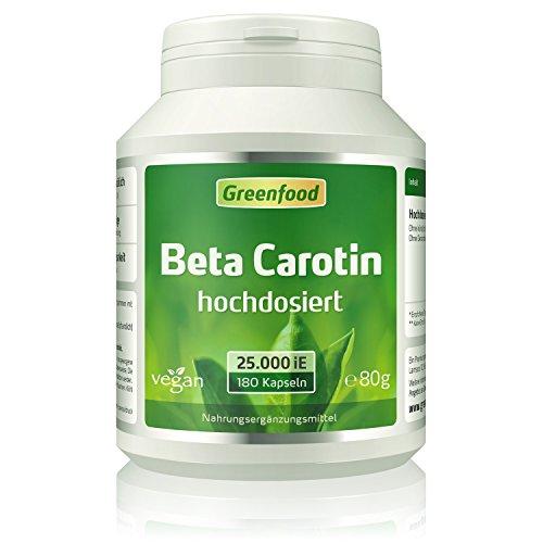 Greenfood Beta Carotin, 25000 iE, extra hochdosiert, 180 Vegi-Kapseln - Vorstufe von Vitamin A (Bräune, Hautschutz, Sehschärfe Immunsystem). OHNE künstliche Zusätze. Ohne Gentechnik. Vegan.