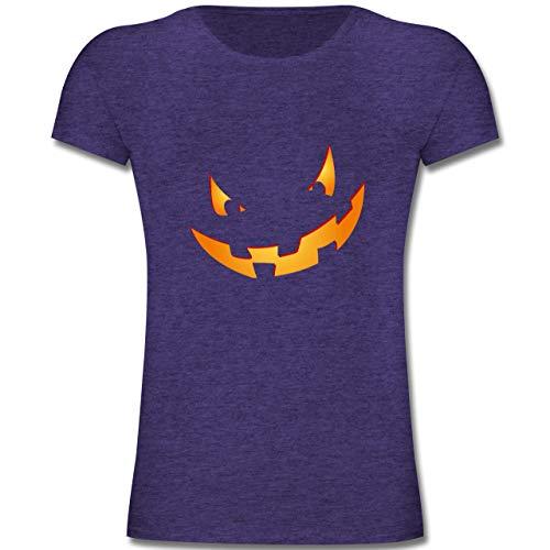 Anlässe Kinder - Kürbisgesicht klein Pumpkin - 164 (14-15 Jahre) - Lila Meliert - F131K - Mädchen Kinder T-Shirt