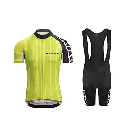 Uglyfrog 2018 Herren Radsport-Jersey Short Sleeve Top Racing Team Biking Top + Bib Shorts Set (Capri Bib)