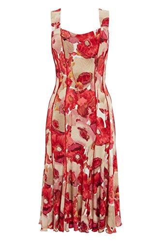 Roman Originals Robe - Imprimé Floral Coquelicot - Femme Rouge