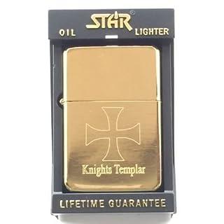 Freimaurer Tempelritter Star Gold Benzin Feuerzeug (T10) + 59mm Button