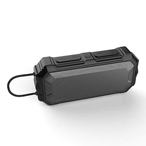 er Kabellose Portabler 12W Lautsprecher Box mit 24 Stunden Spielzeit & Dual-Treiber Wireless Speakers mit Mikrofon und Reinem Bass für Zuhause, im Freien, Reisen,Black,one ()