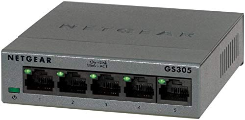 NETGEAR GS305-100PES Switch 5 Ports Gigabit Métallique 10/100/1000 mbps pour une Connectivité Simple et Abordable pour les Petites Entreprises et les Bureaux à Domicile