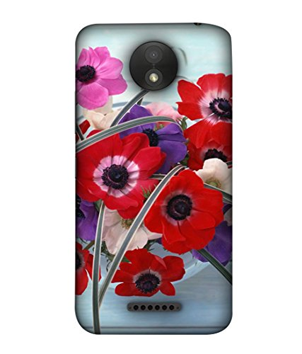 PrintVisa Designer Back Case Cover for Motorola Moto C (Floral Plant Bloom Red Fresh Pink Colorful Green)