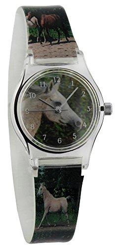 Kinderuhr Pferde - Uhr für Mädchen Kinder Armbanduhr Analog - Stute Schimmel Tiere Tier Pferd Araber weiß - Pferdemotiv Pferdekopf Uhren