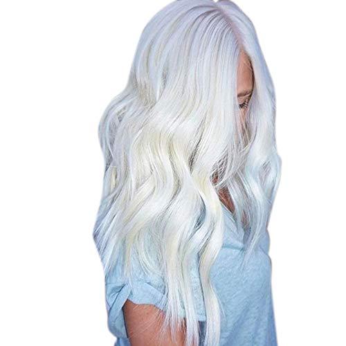 Perruque Femme naturelle, feiXIANG femmes haute qualité dégradé argent Perruque Cheveux ondulés Extensions de cheveux Long Complète bouclé ondulé Chaleur resistant Synthetique