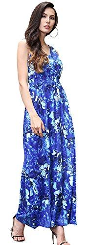 Jeansian Femme Mode ete Robe de plage sans manches Sexy Women's Summer Casual Beach Evening Cocktail Party Dresses WHS464 blue