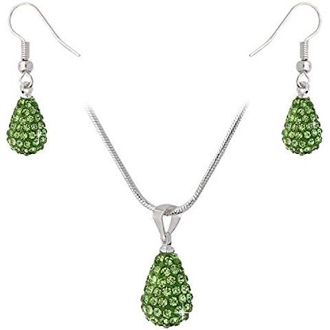 Obiettivo glitzs collana orecchini stile donna a goccia con cristalli verde argento 46 cm 1537