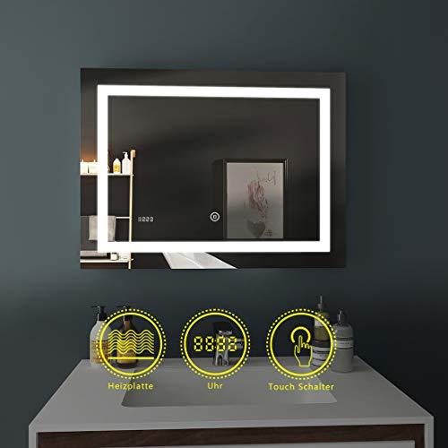 LED Badspiegel 80x60cm Beleuchtung Badezimmerspiegel Wandspiegel mit Touch-Schalter, Beschlagfrei, Uhr