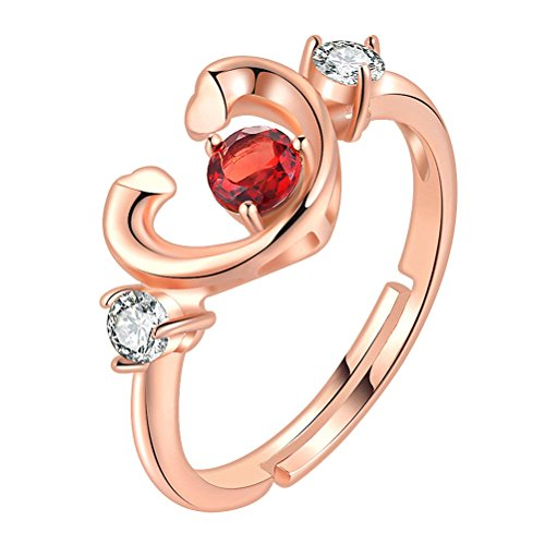 FENICAL Silver Ring Nature Garnet Electrosilvering Rose Gold Ring Classical Design for Girls Lover Daugther