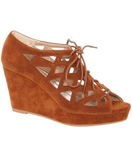 pilote anya treillis lacets de chaussures à pointes brunes brun havane