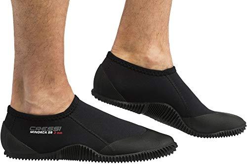 Cressi Minorca Shorty Boots, Calzari Bassi per Immersione e Snorkeling, Premium Neoprene, 3 mm Unisex-Adulto, Suola Nero, L-42/43