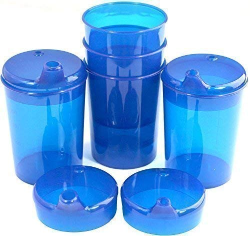 Schnabelbecher 250 ml Set 5 Unterteile + 10 Deckel (Öffnung 5 Stück 12 x 10mm u. 5 Stück 4 x 4mm) in versch. Farben von Medi-Inn (blau)