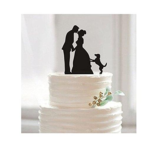 Lustiger Dekoaufsatz für Hochzeitskuchen, Braut und Bräutigam mit Hund, Tortendekoration, Tortenaufsatz