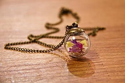Pendentif en verre - Fleurs de Lavande de mer - Petit globe 20mm - Idee cadeau anniversaire - Cadeau de Noël - Un collier fait main de fabrication française