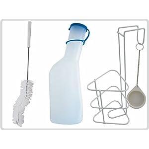 """Urinflaschen-Set """" Das Profimodel """" Urinflasche mit Bürste und Halterung, milchig"""