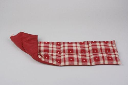 Textil FreWe Körnerkissen Baumwolle/verschiedene Designs/ca. 63x16 cm / 8 Kammern/rot kariert m. Herzen/rot