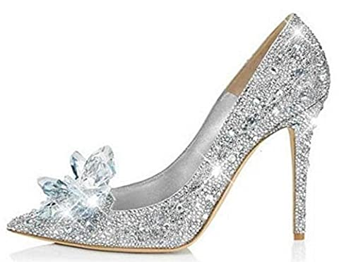 HYLM Hot Cinderella Crystal Chaussures Butterfly Flower Silver Diamond Pointed Talons hauts Fine avec des chaussures de mariage Chaussures de banquet , silver , 39