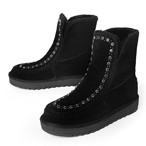 inverno stivali da neve con tubo corto/Stivaletti piatto antiscivolo aumentata del corpo/ scarpe casual-B Longitud del pie=22.3CM(8.8Inch)