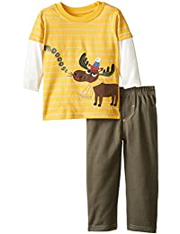Watch Me Grow! by Sesame Street Baby Boys' 2 Piece Moose Tee and Pant Set