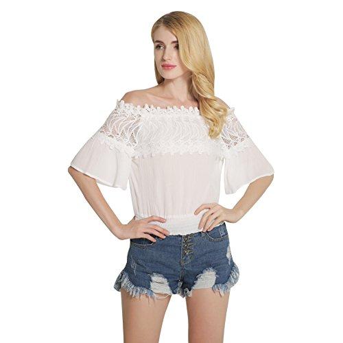 Etosell Femme T-shirt d'ete En Mousseline De Soie Dentelle Sans Bretelles Tops Blanc